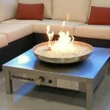Urban Fire Outdoor Stainless Steel Gas Fire Pit, Glass Color: Black Reflective
