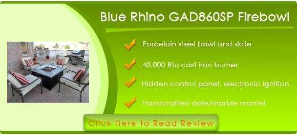 Blue Rhino GAD860SP LP Gas Outdoor Firebowl with Slate Marble Mantel